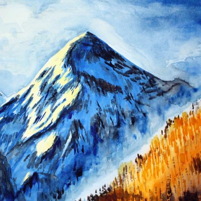Painting with Mountains Watercolor (Mountains, America, San Juan, Blue Painting, Landscape)