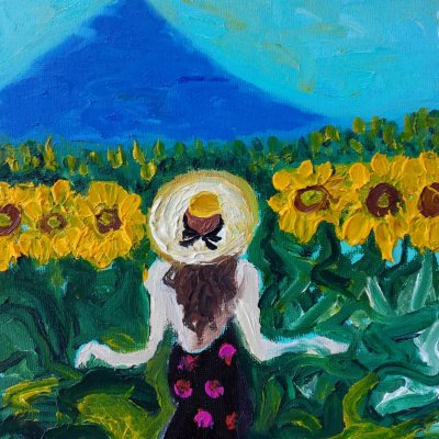 Walking in the sunflowers