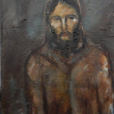 Christ walking to the place of the crucifixion.