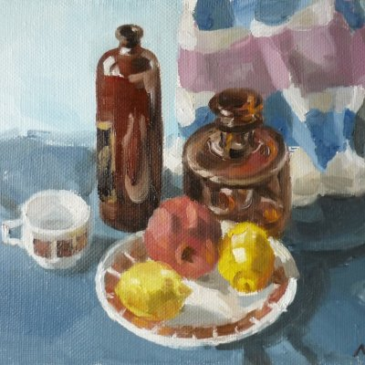 Still life with lemons in blue-blue colors №1