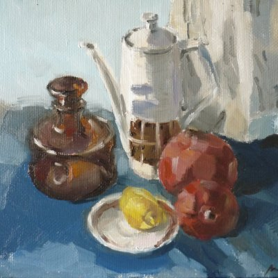 Still life with pomegranates in blue-blue colors №2