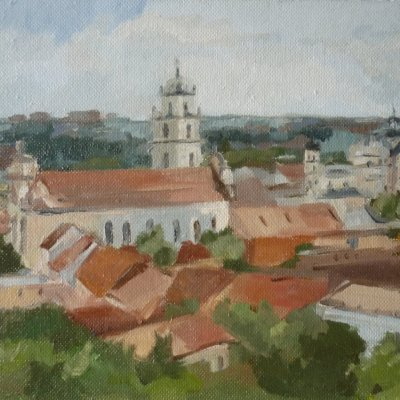Vilnius. View of the Church of St. John and the bell tower