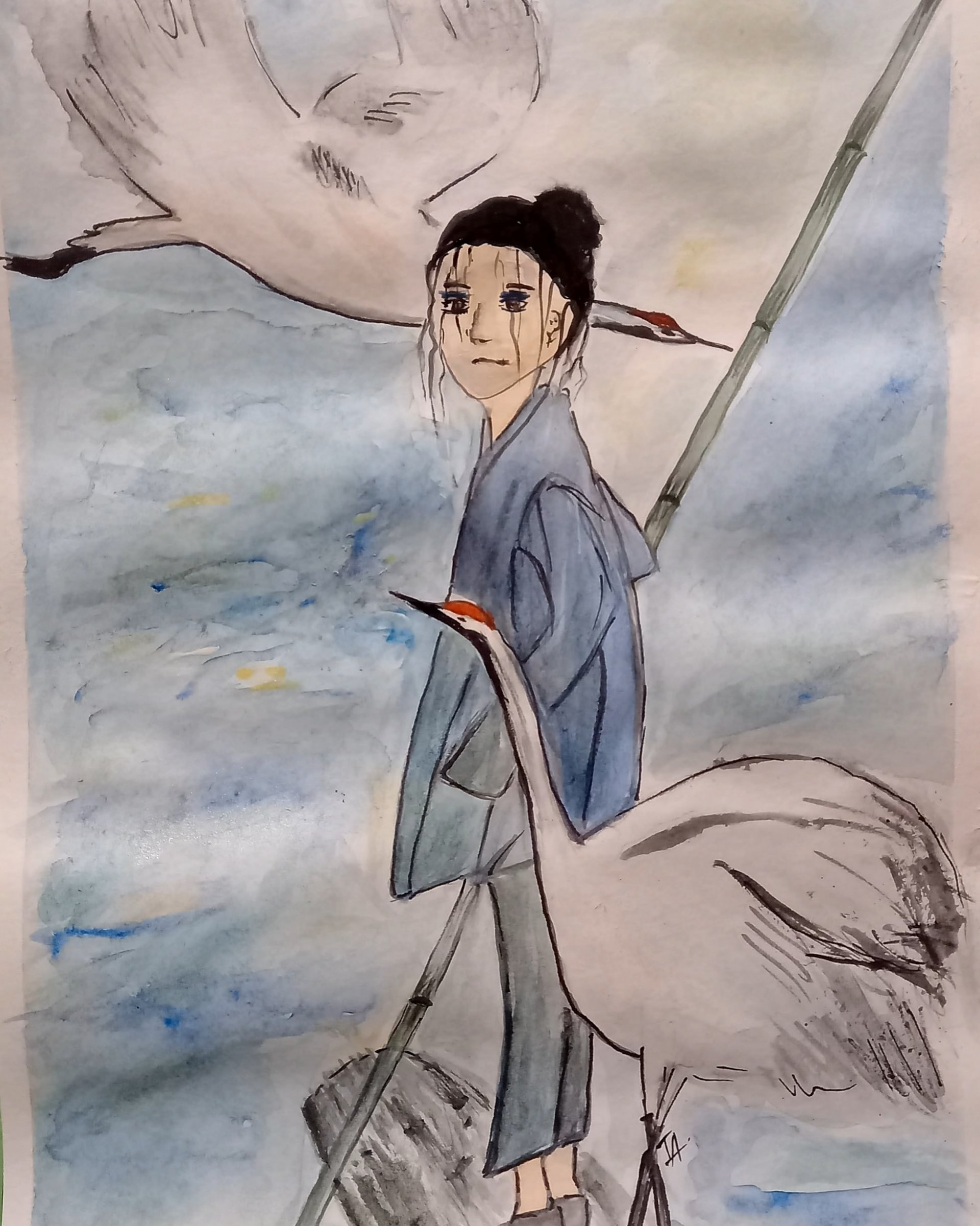 Girl and cranes