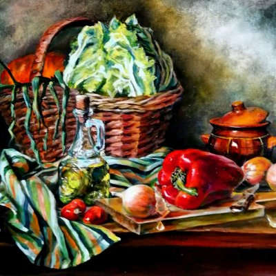 Still life with a large basket and vegetables. Oil, canvas on hardboard