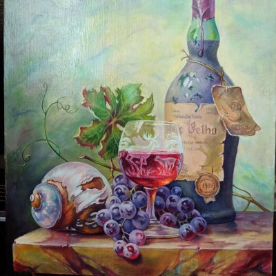 Still life with a dusty bottle of wine (copy), T.Gabor