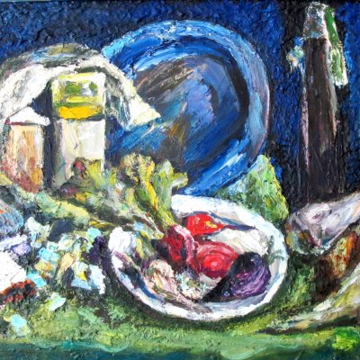 Still life with blue plate