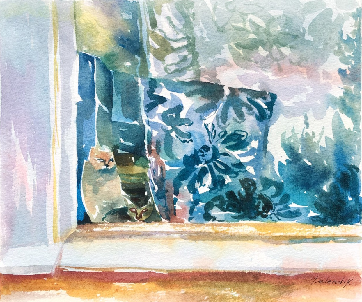 Two cats on the window (Two pieces on the window)
