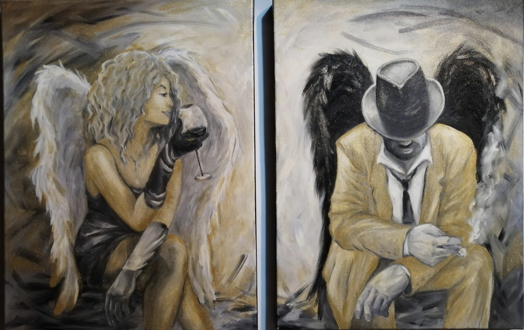 Meeting Angels or Important Conversation (Diptych)