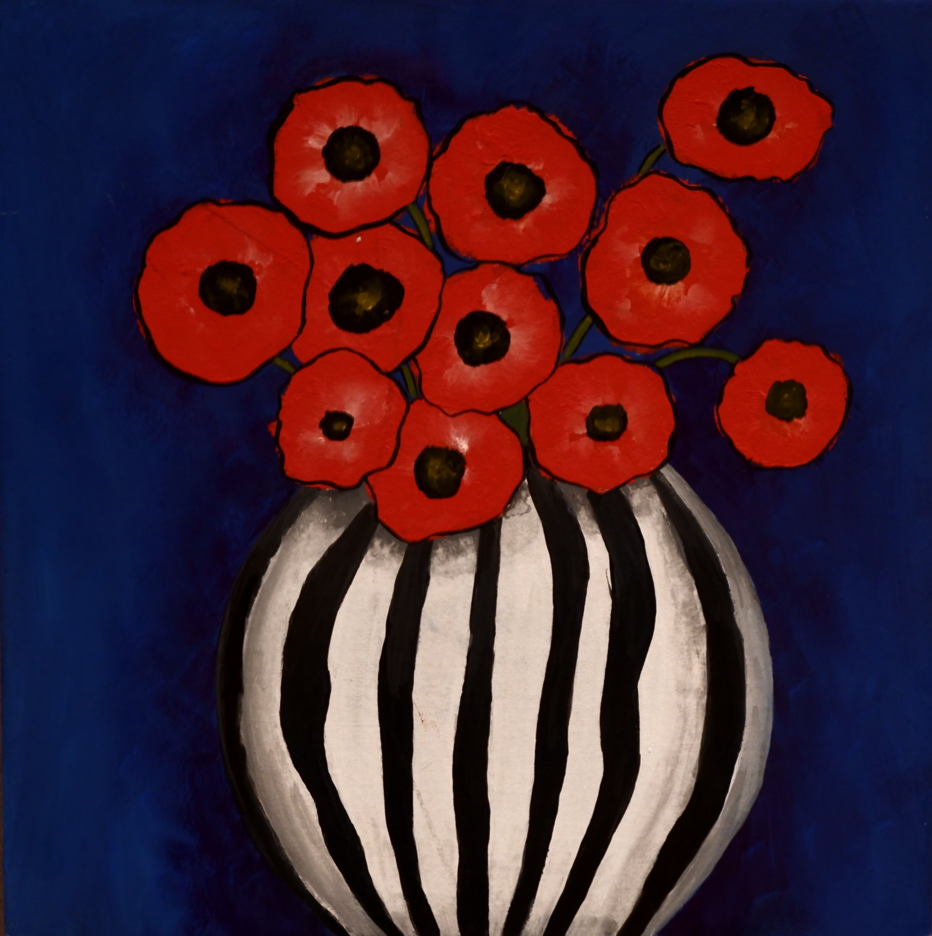 Poppies on a blue background