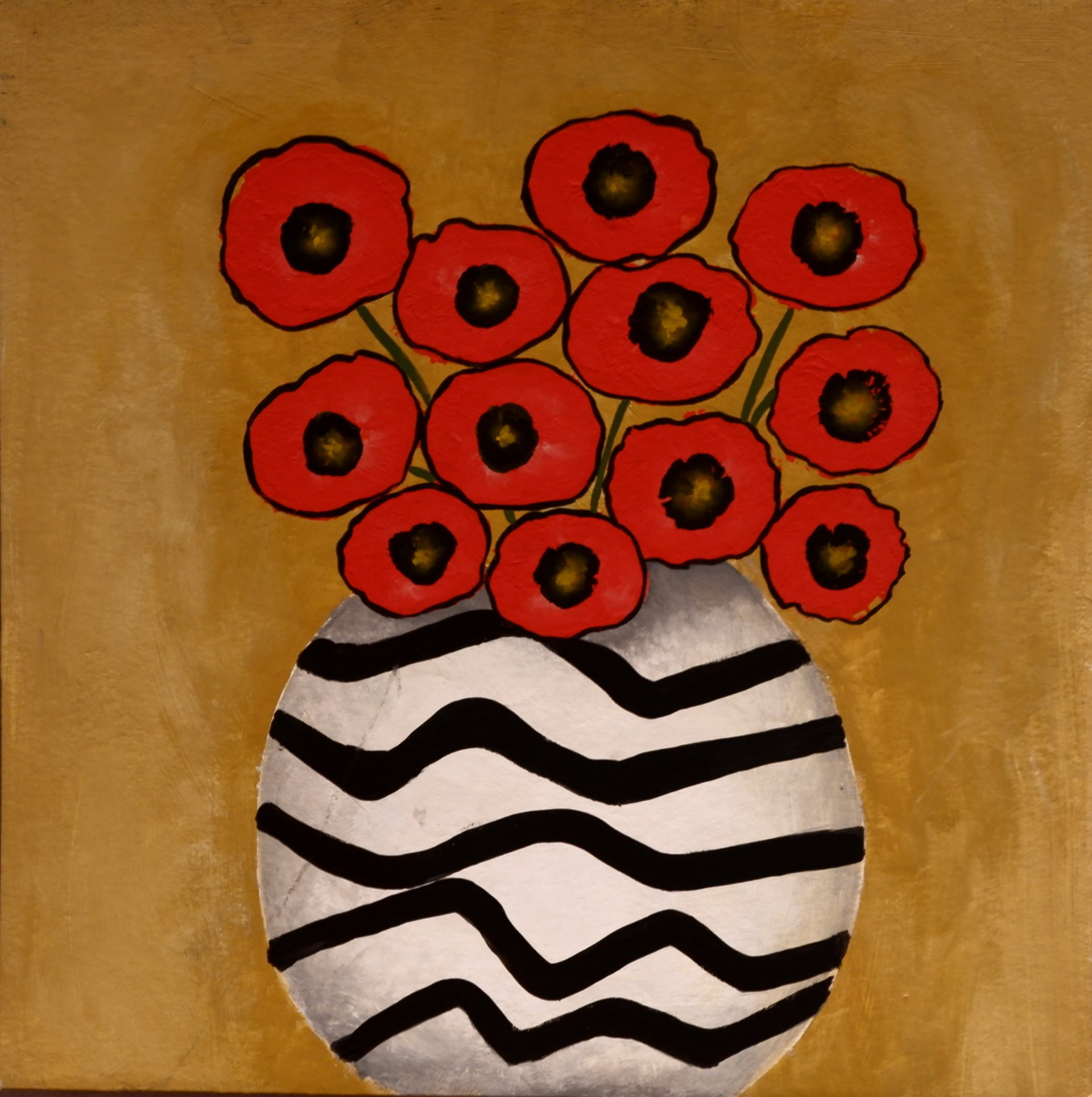 Poppies on yellow background