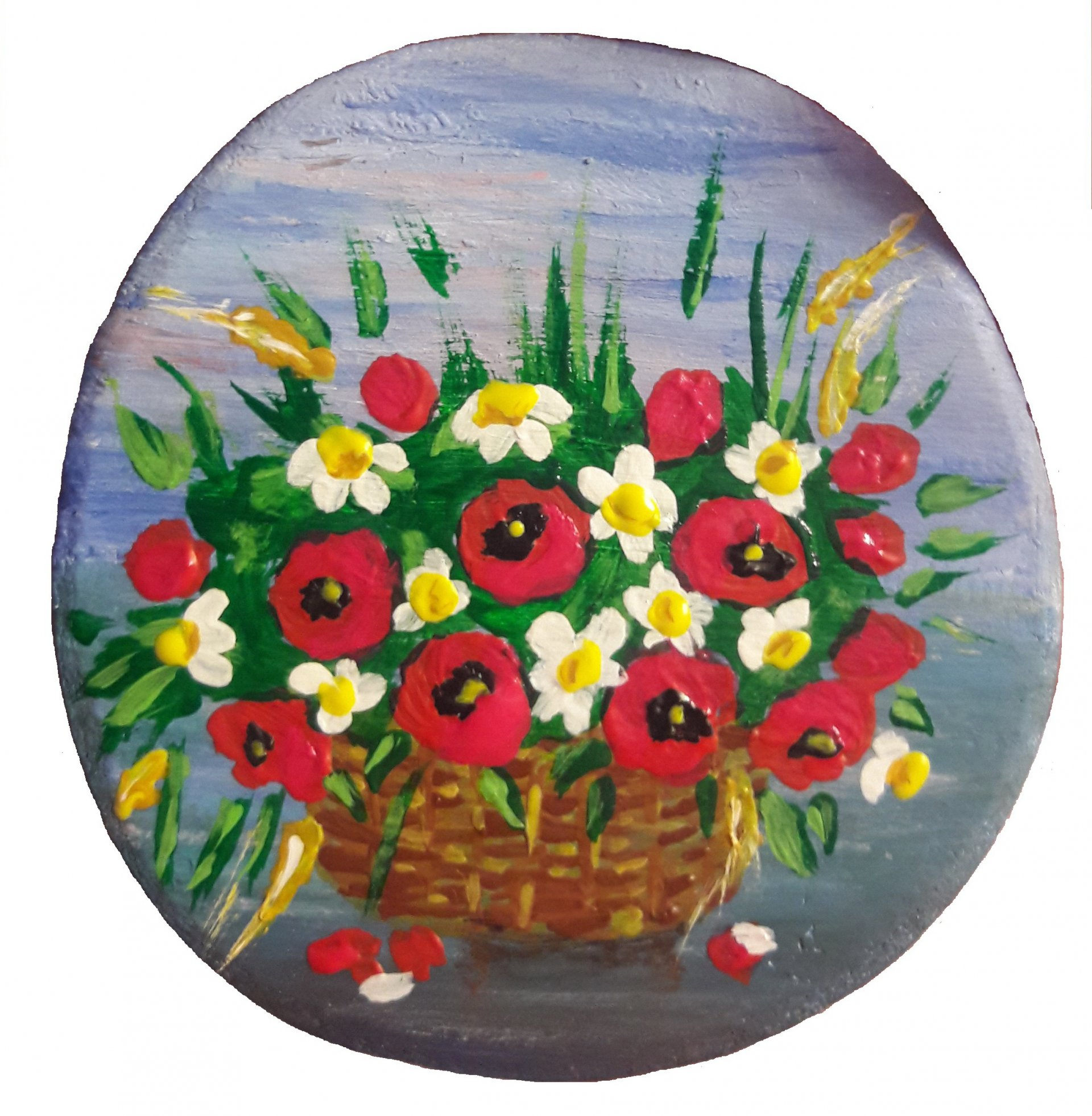 Basket with poppies and daisies