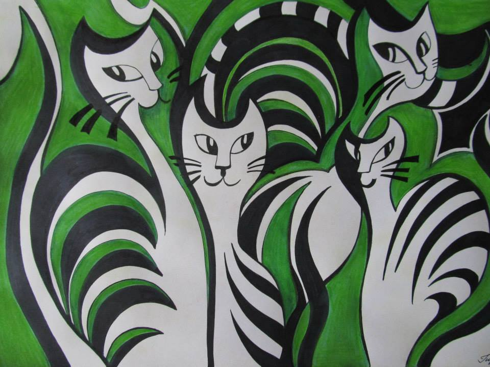 Cats in green