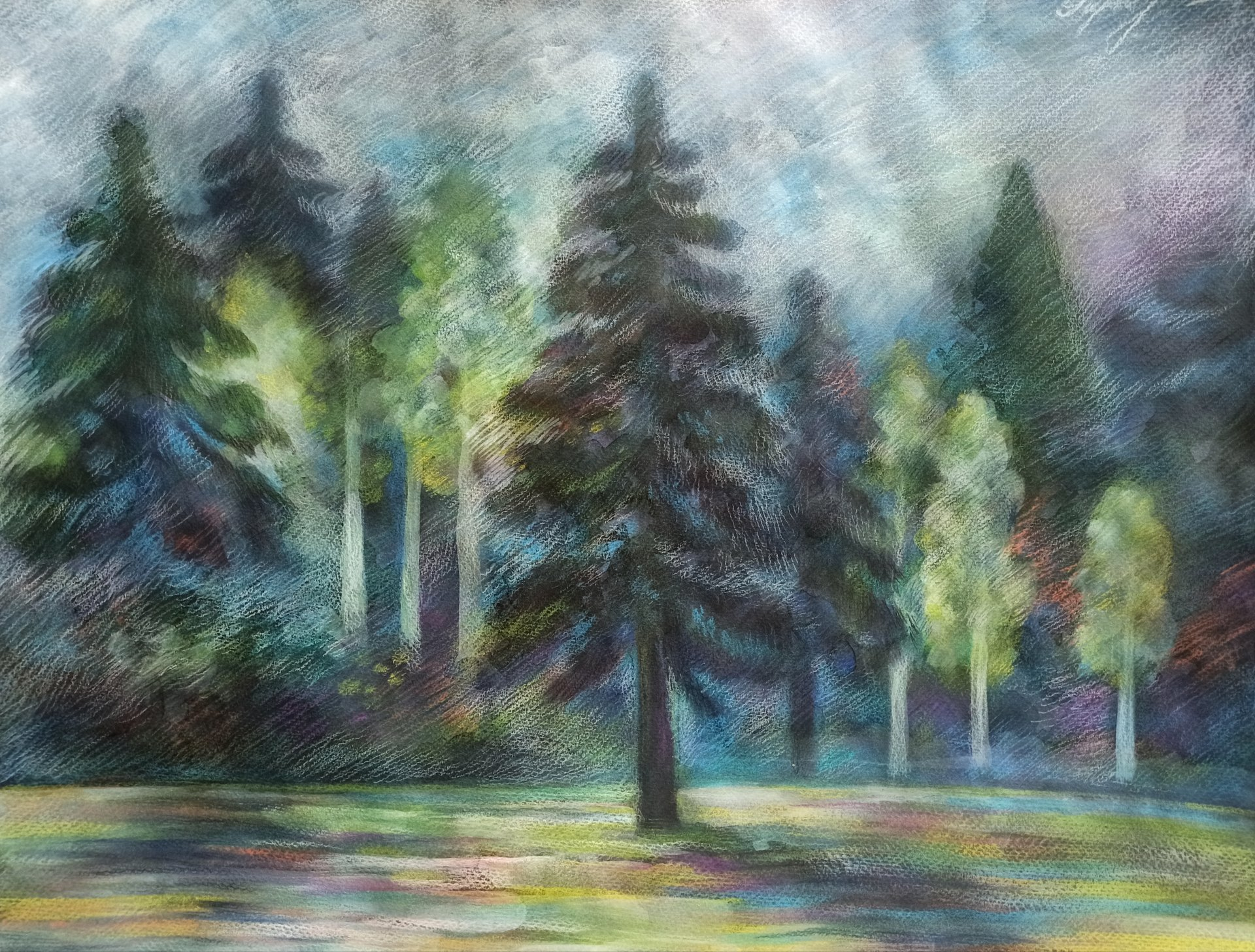 Spring landscape with trees