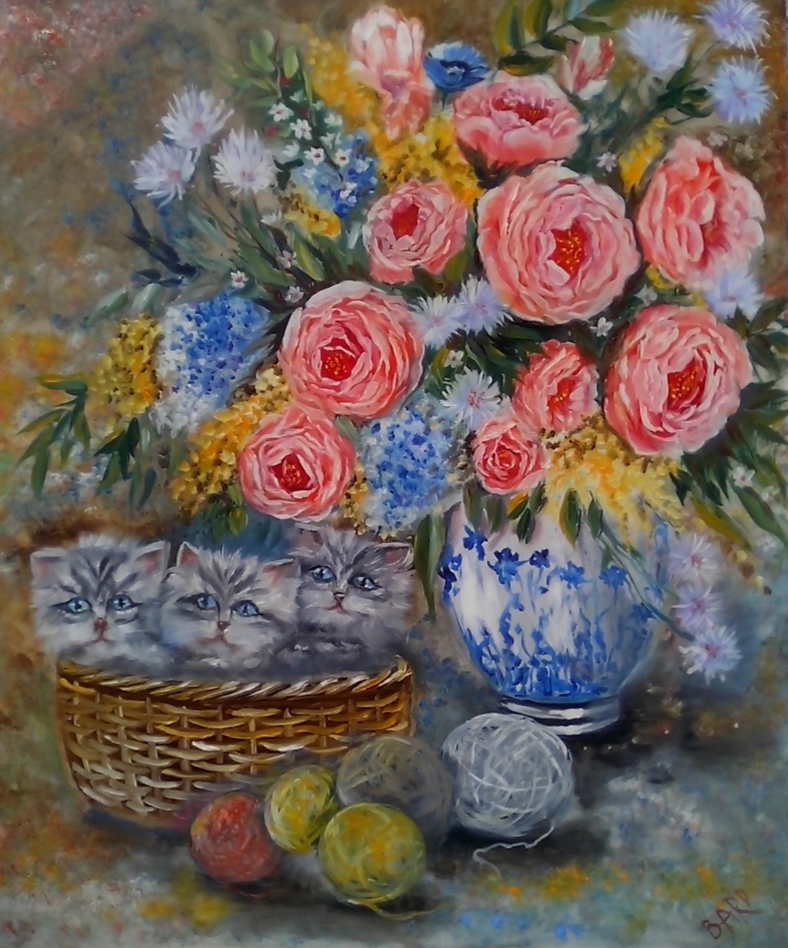 still life with wool