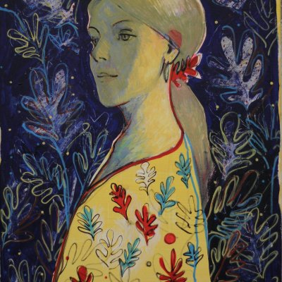 Girl in a blouse with flowers