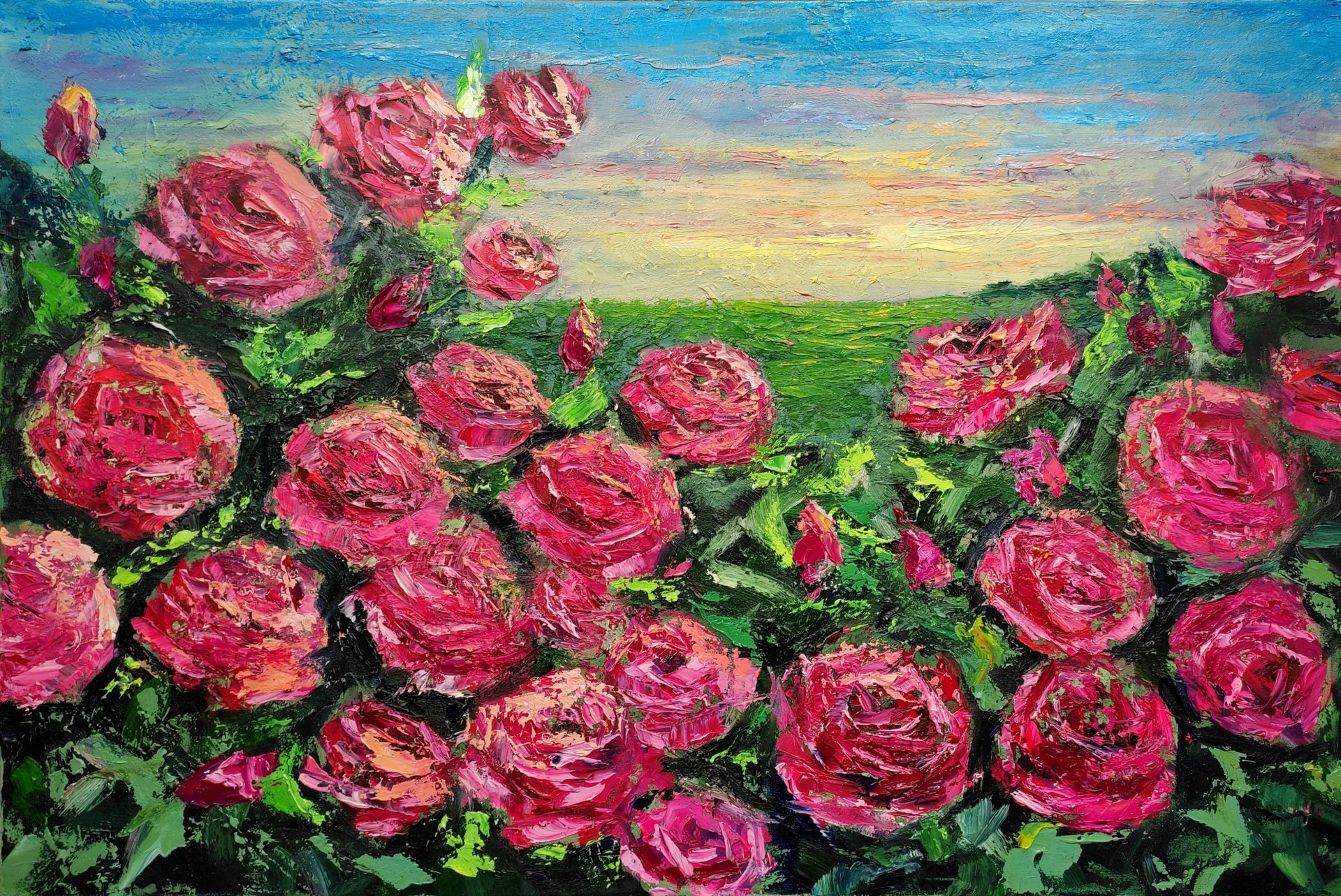 Roses at sunset