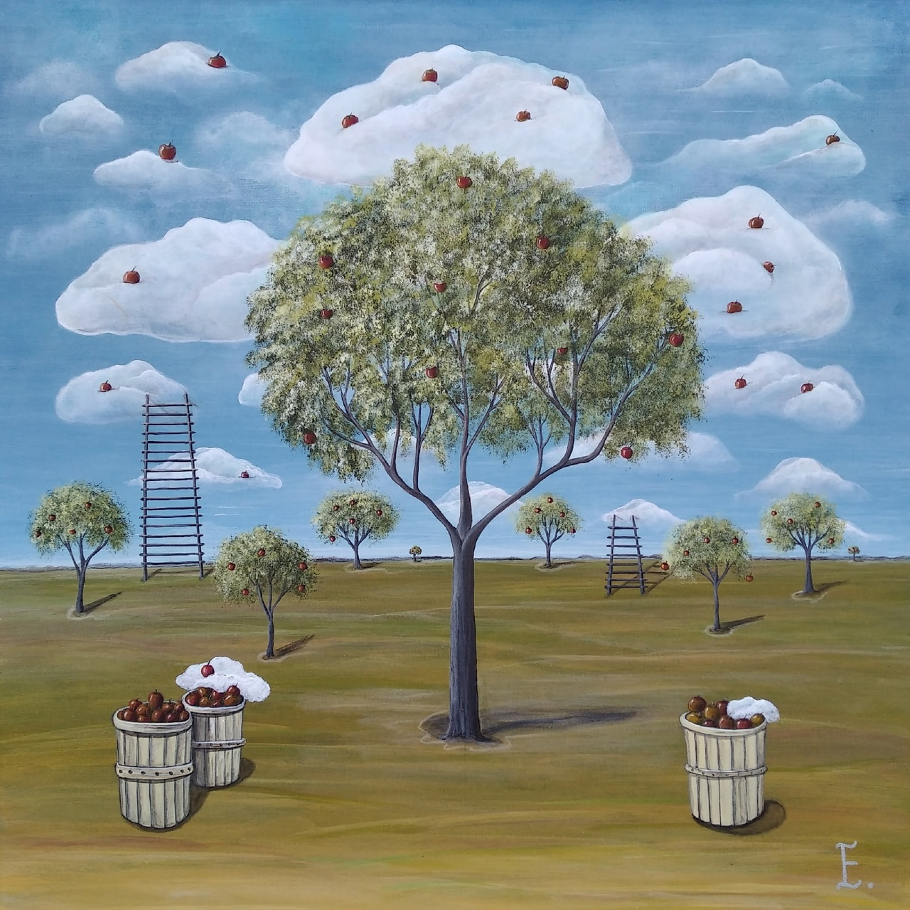 Apples fall into the sky