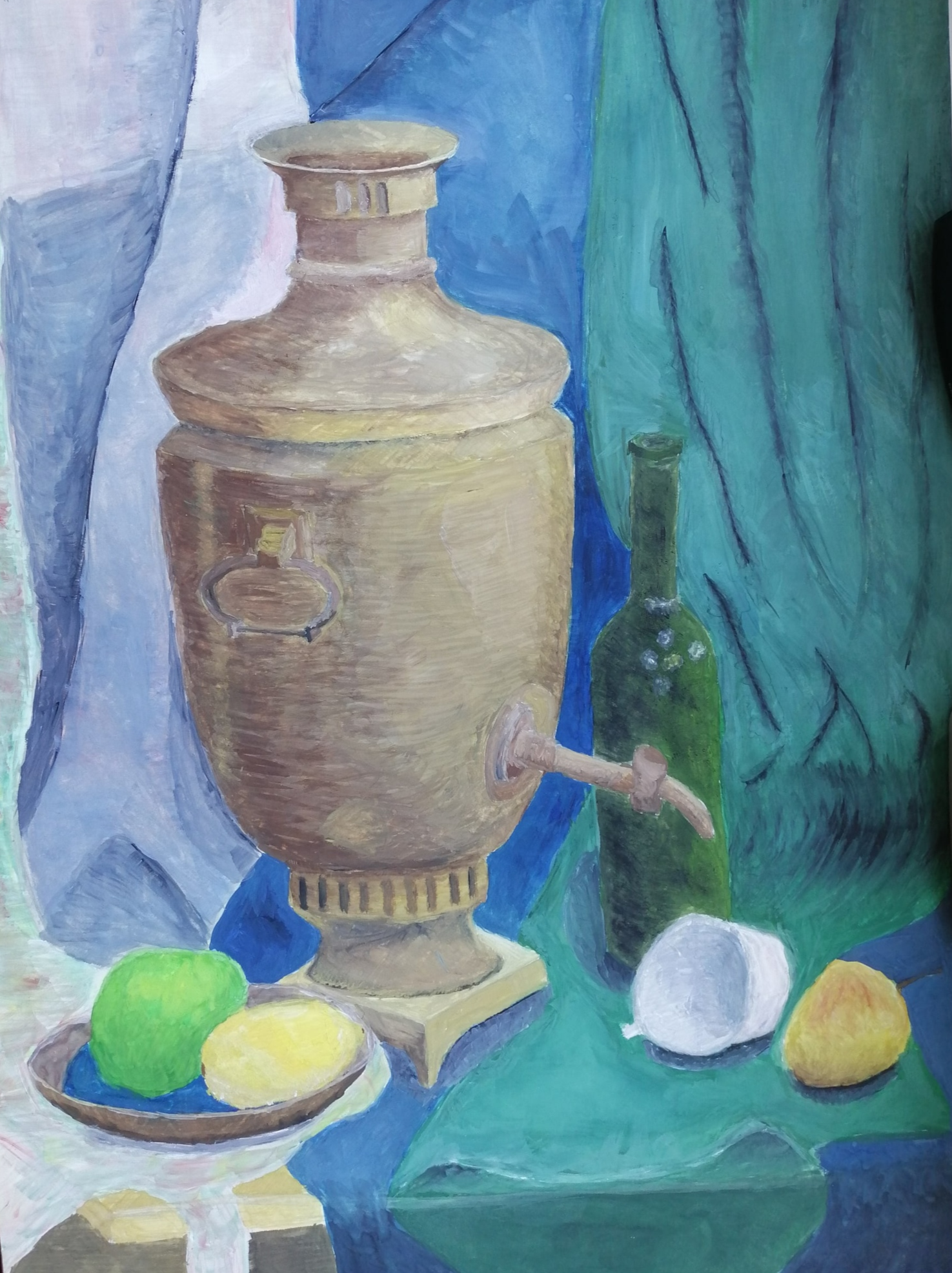 Samovar with cup and fruit