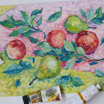 Three peaches and two pears