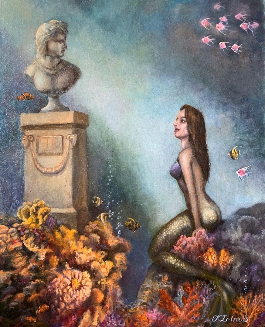 Triptych (1 painting in a series of paintings with the Little Mermaid)
