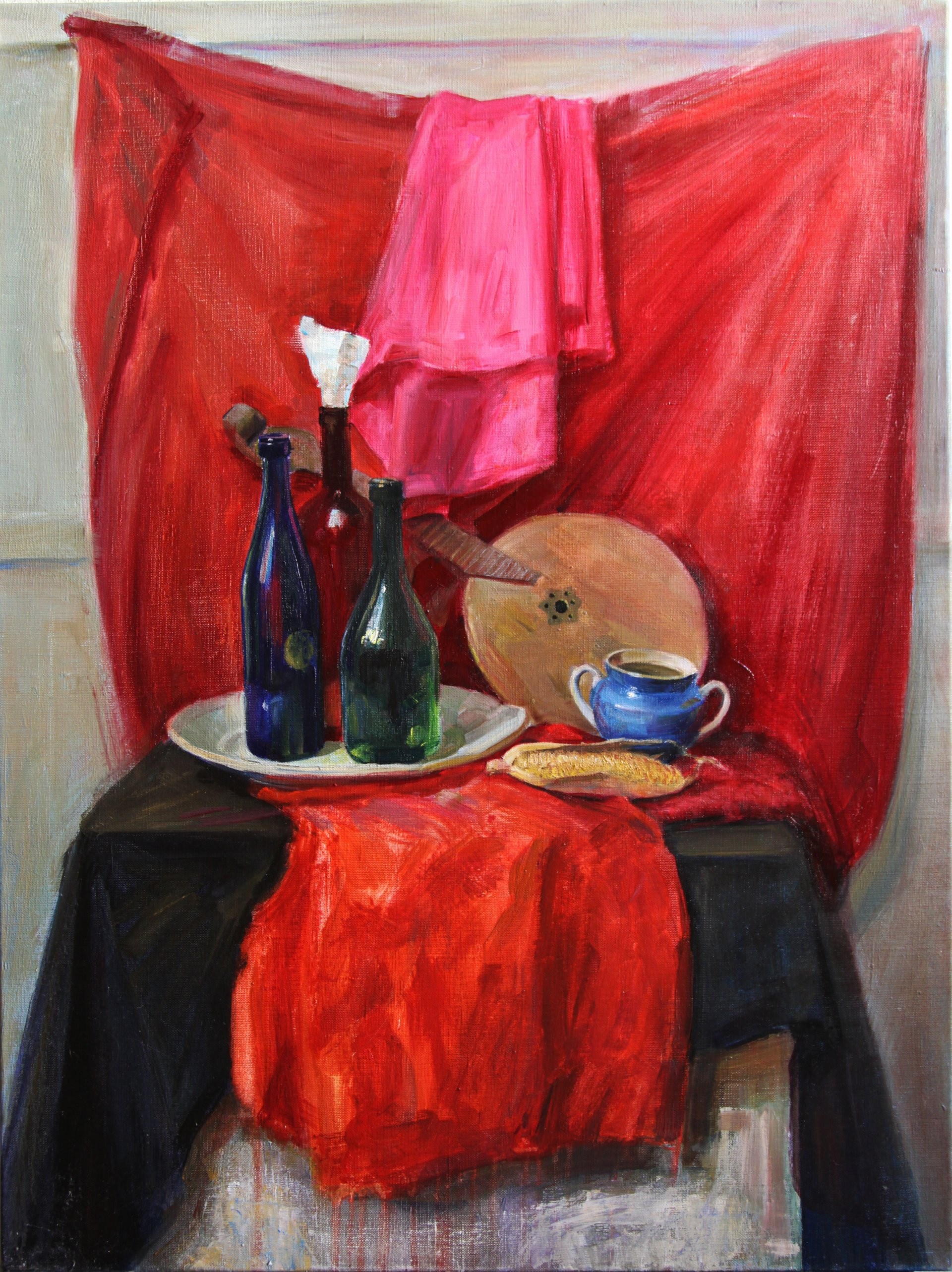 Still life with red drapes