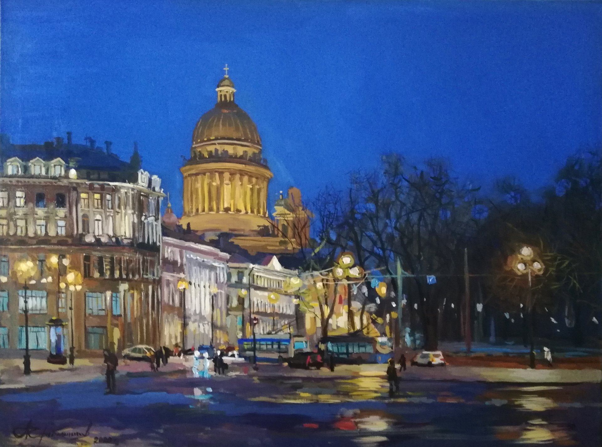 Night. View of St. Isaac's Cathedral.