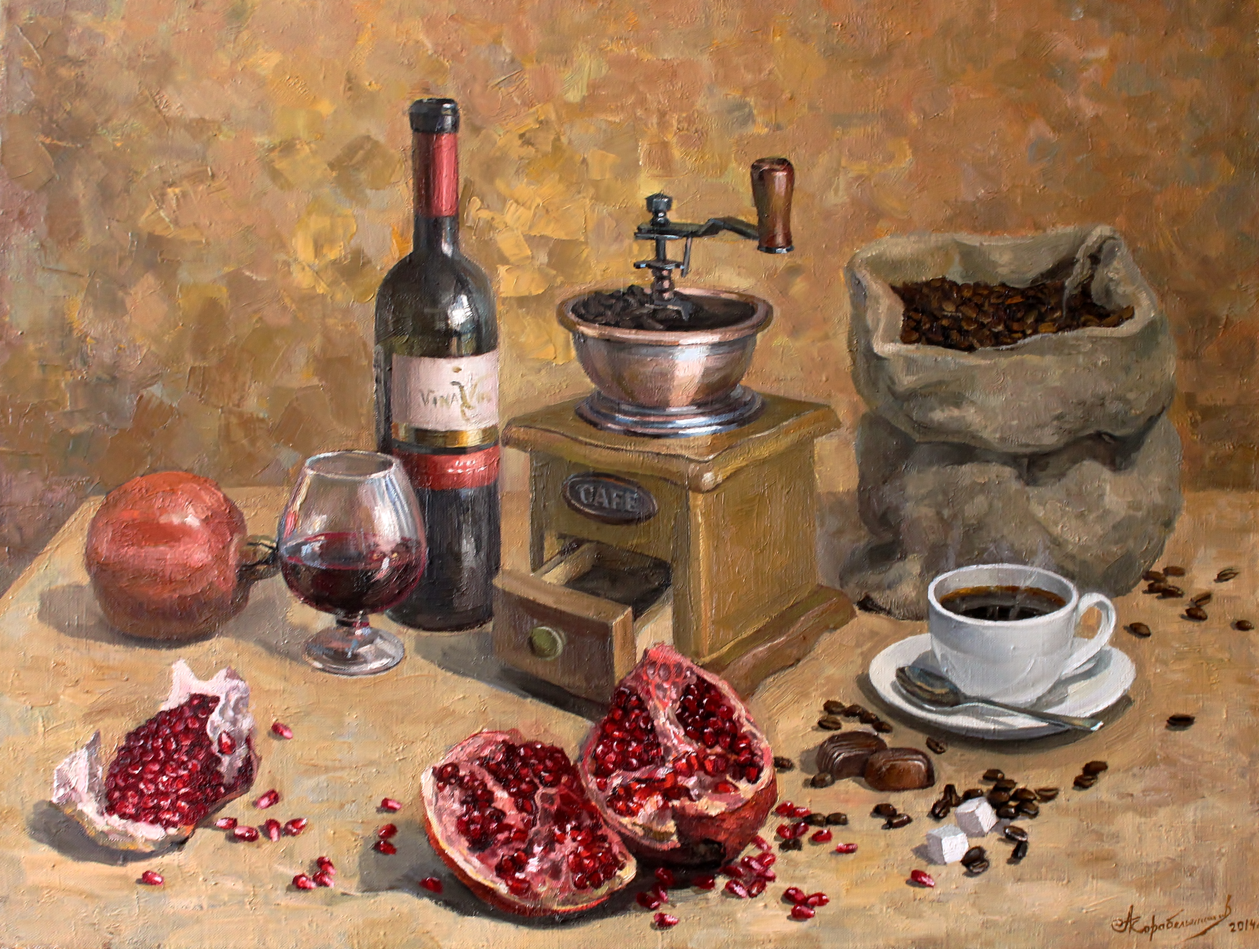 Still life with pomegranate and coffee