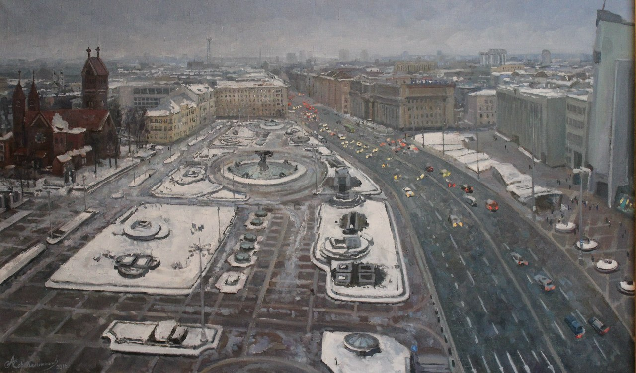 Minsk. Independence Square in winter