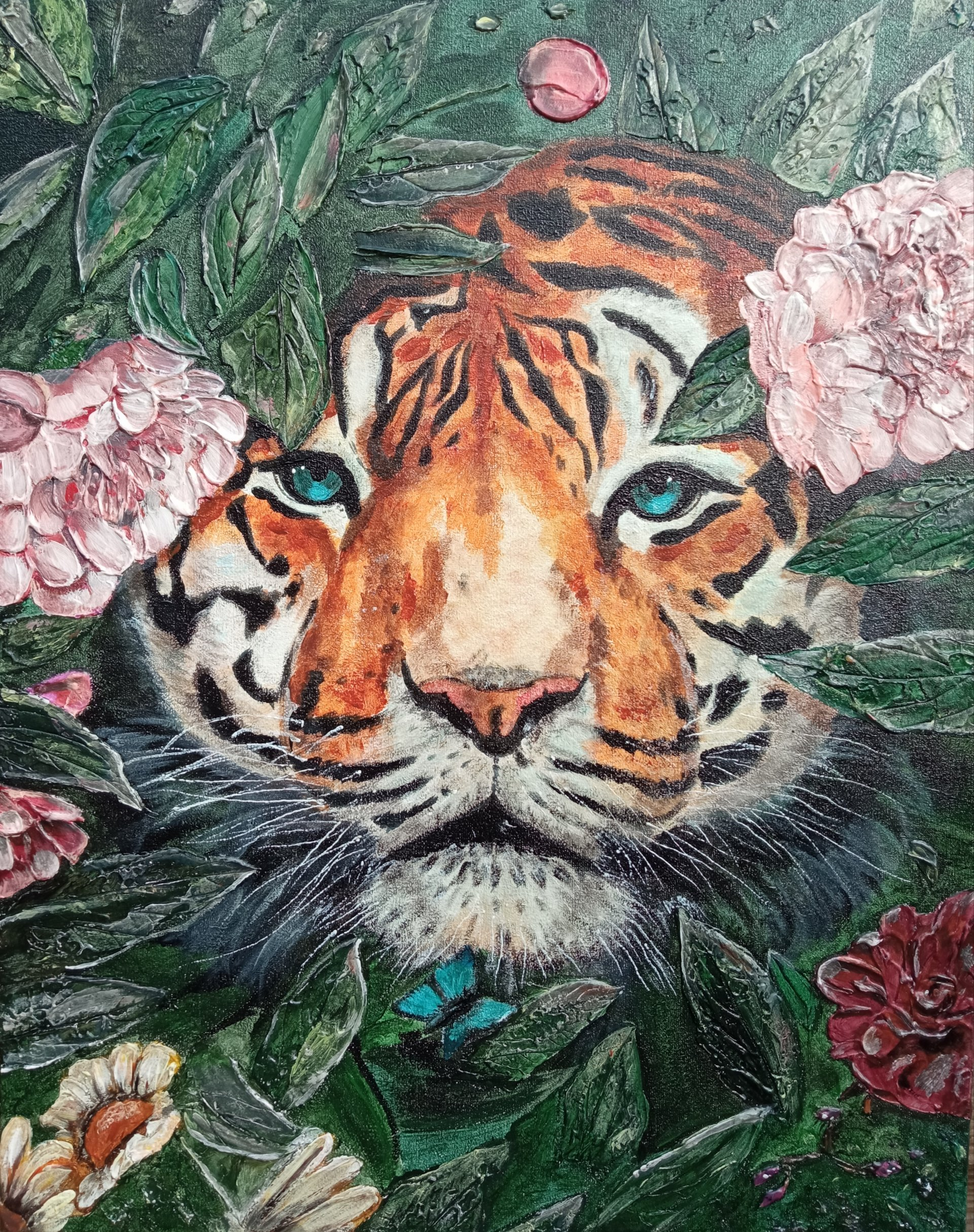 Tiger lurched in flowers