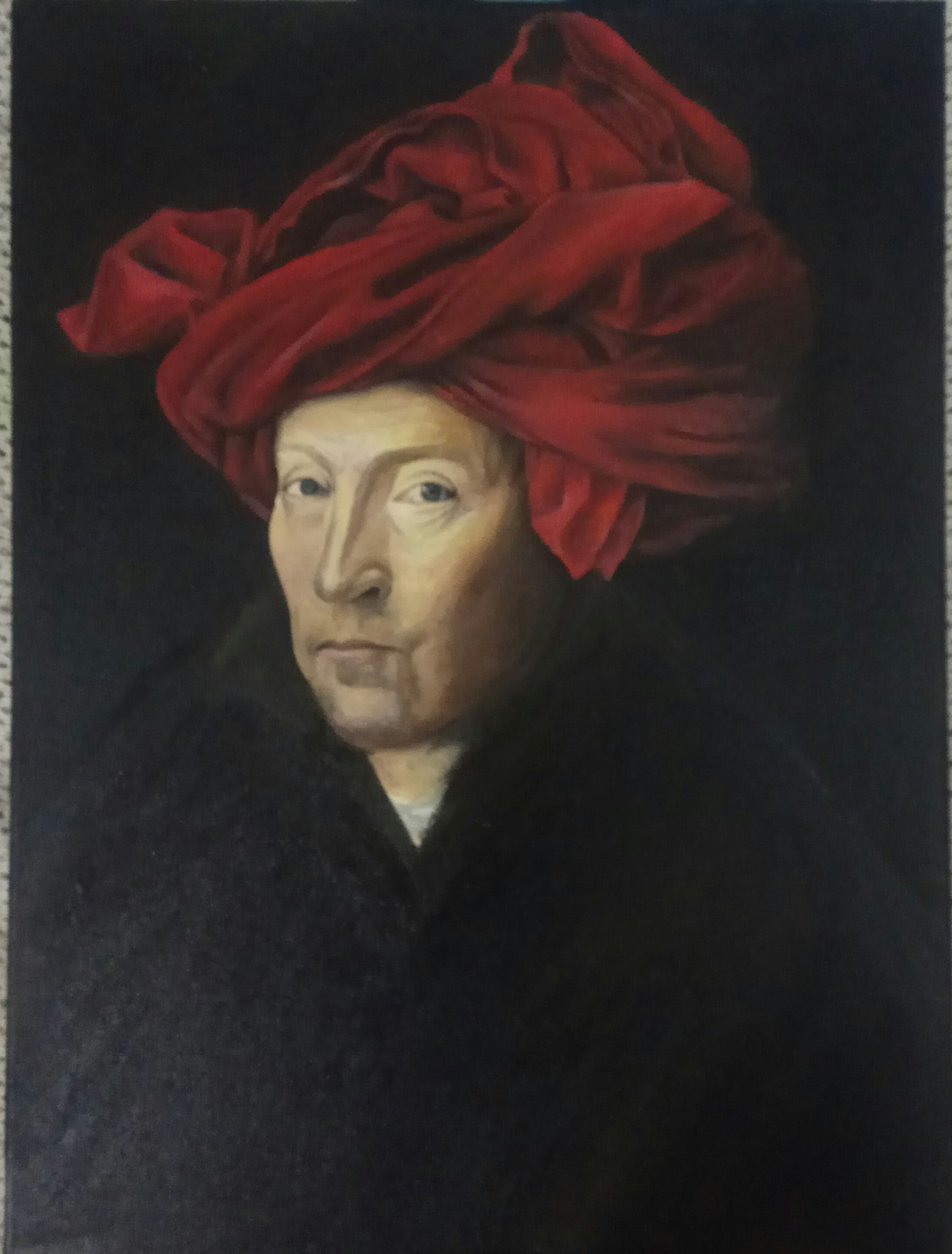 A copy of a painting by Jan van Eyck, Portrait of a Man in Red Turban