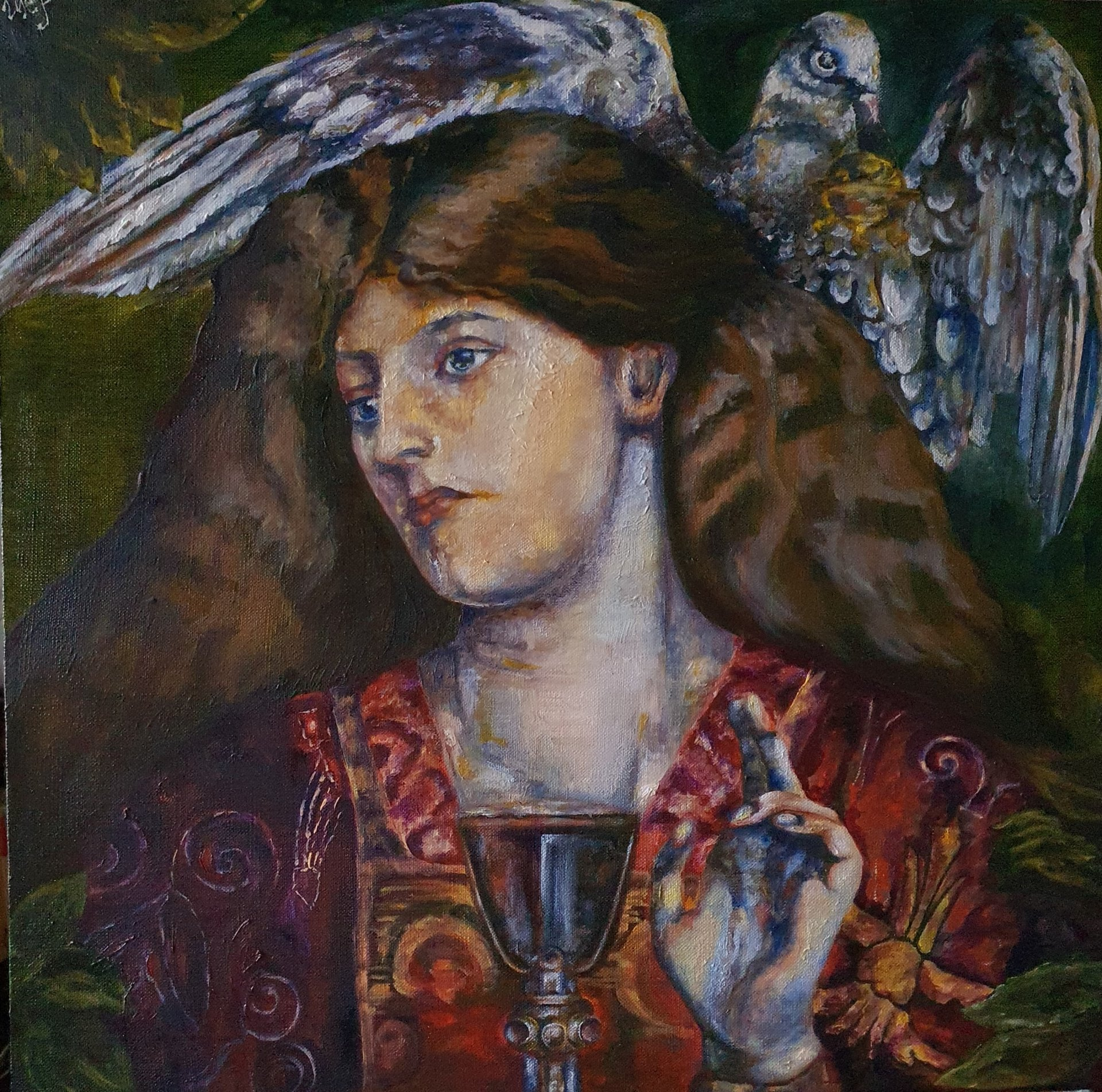 Virgin of the Holy Grail (fragment of Dante Gabriel Rossetti's painting, copy)