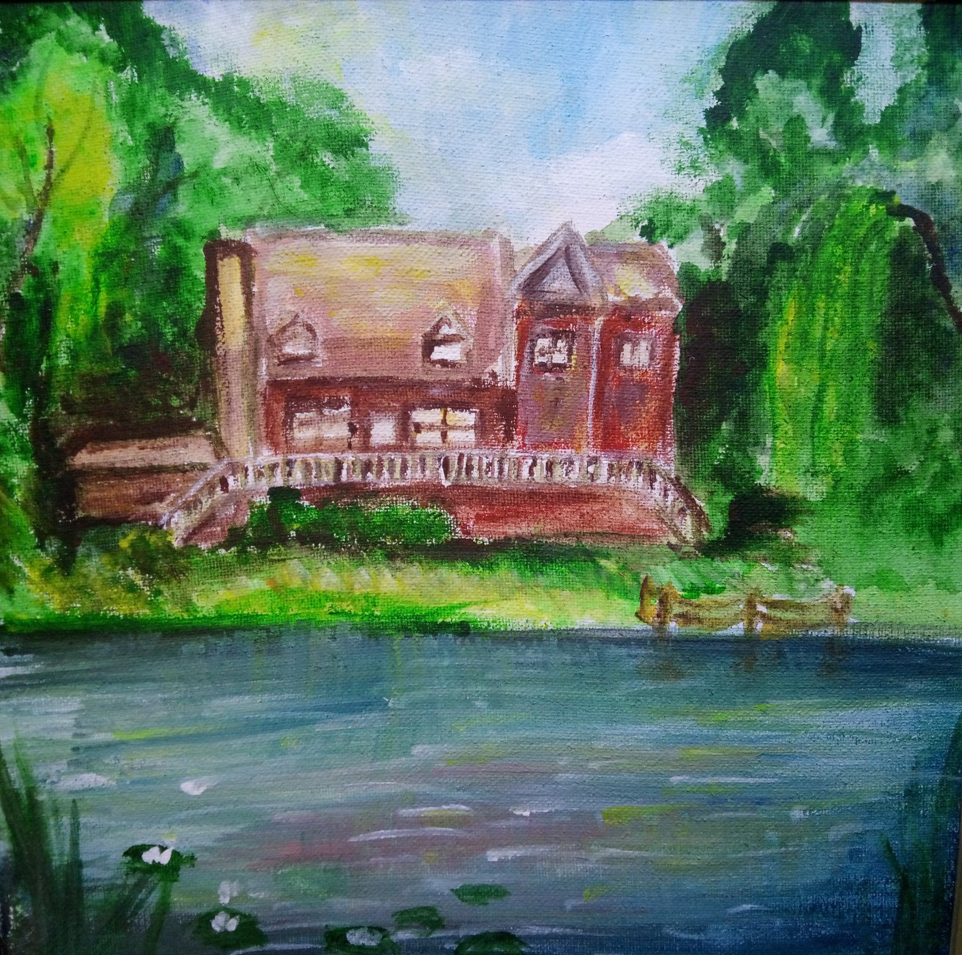 House in the woods by the lake