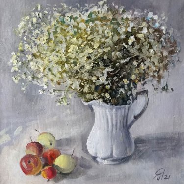 Summer bouquet with apples