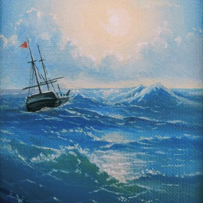 Miniature with Aivazovsky painting