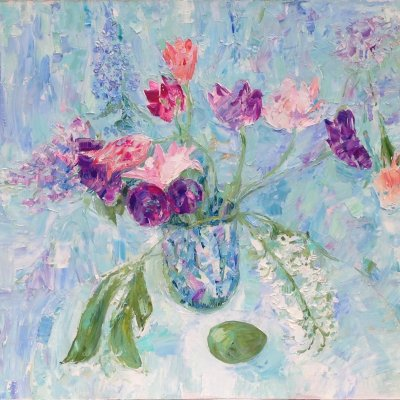 Still life with tulips in blue colors