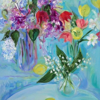 Spring still life with lilacs, lilacs and tulips
