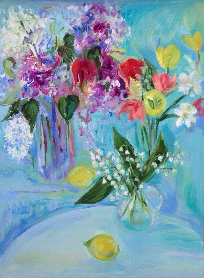 Spring still life with lilacs, lilac and tulips