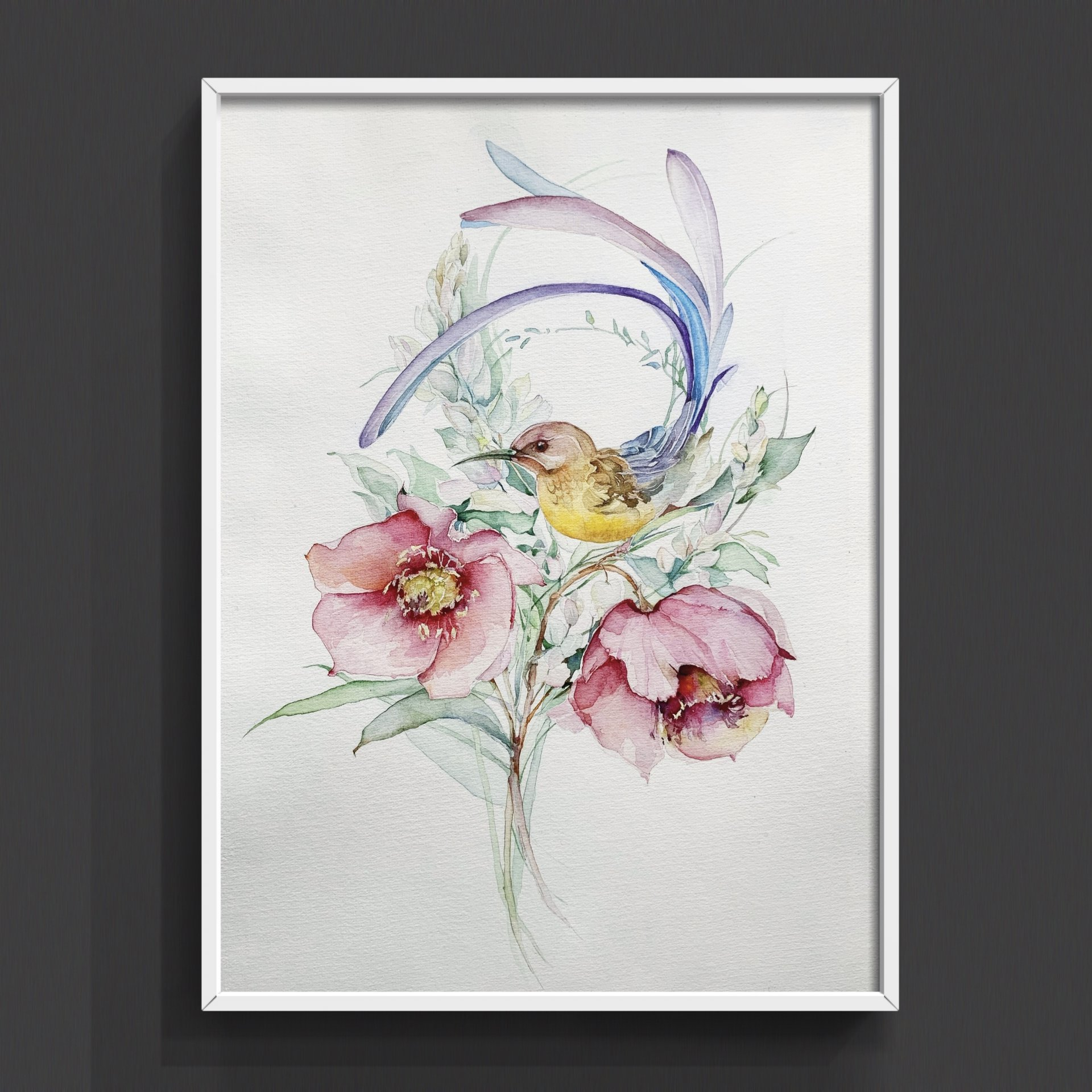 Bird and Its Flowers