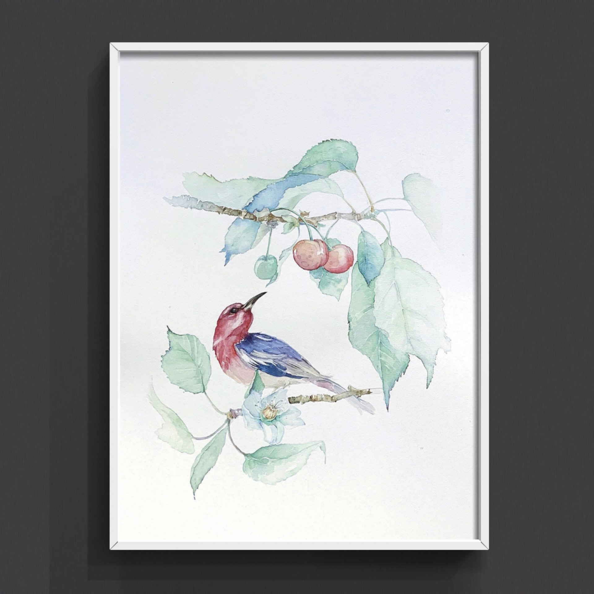Birds, Flowers and Cherry. Author Watercolor