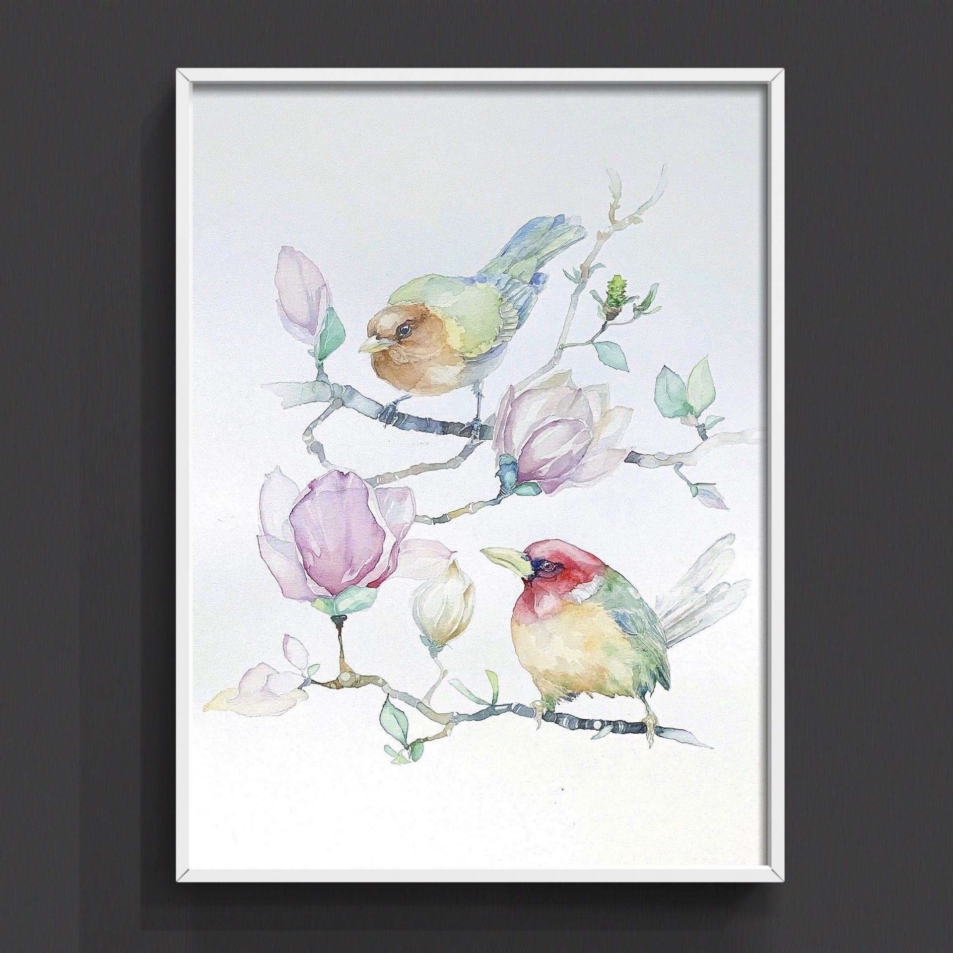Birds and Flowers of Magnolia. Author Watercolor.