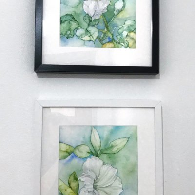 """Series of two works """"White Flowers"""""""